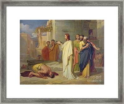 Jesus Healing The Leper Framed Print by Jean Marie Melchior Doze