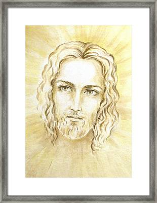 Jesus In Light Framed Print by Stoyanka Ivanova