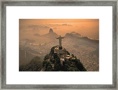 Jesus In Rio Framed Print by Christian Heeb
