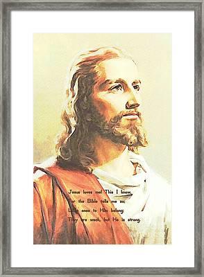 Jesus Loves Me Framed Print by John Malone
