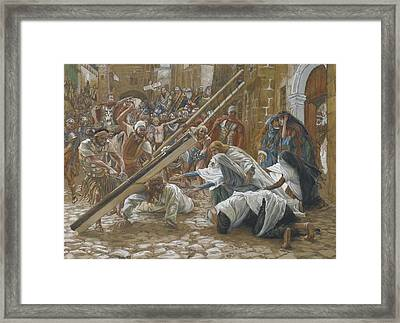 Jesus Meets His Mother Framed Print by Tissot
