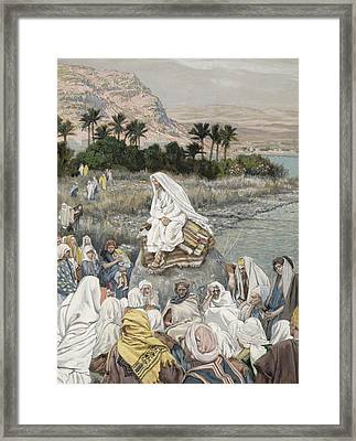 Jesus Preaching By The Seashore Framed Print by Tissot