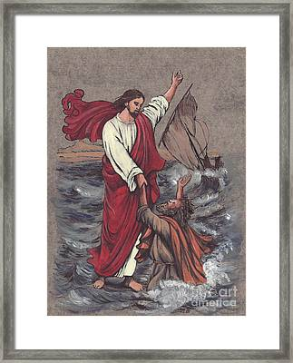 Jesus Saves Peter Framed Print by Morgan Fitzsimons