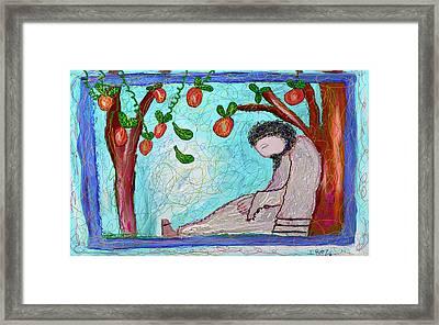 Jesus Sleeping Under The Apple Tree Framed Print by Ian Roz