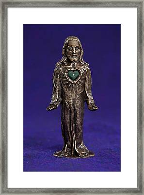 Jesus Statue With Sacred Heart Framed Print by Jasmina Agrillo Scherr