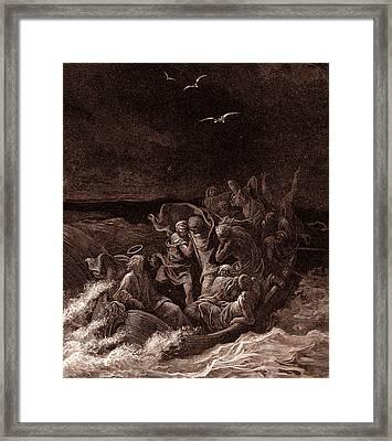 Jesus Stilling The Tempest Framed Print by Gustave Dore
