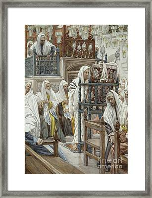 Jesus Unrolls The Book In The Synagogue Framed Print by Tissot