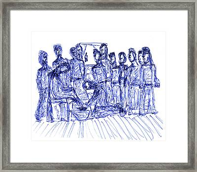 Jesus Washing A Disciple's Feet Framed Print by Day Williams
