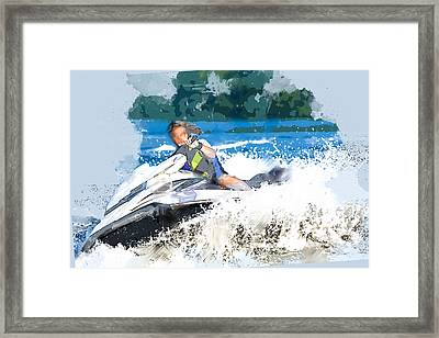 Jet Skiing In The Lake Framed Print by Elaine Plesser