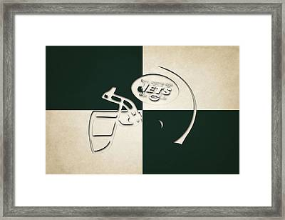 Jets Helmet Art Framed Print by Joe Hamilton