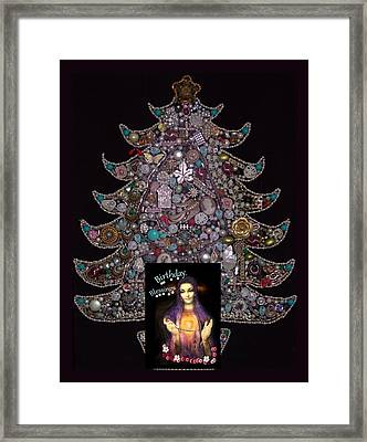 Jeweled Tree Birthday Blessings Framed Print by Myrna Migala