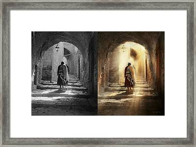 Jewish - Evening Prayers 1934 - Side By Side Framed Print by Mike Savad