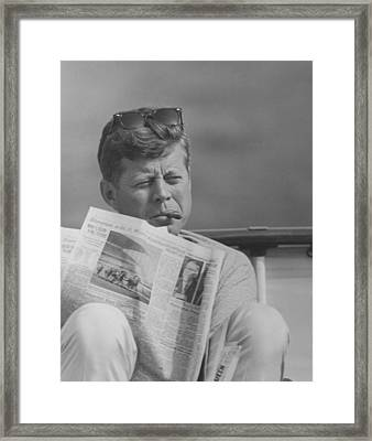 Jfk Relaxing Outside Framed Print by War Is Hell Store