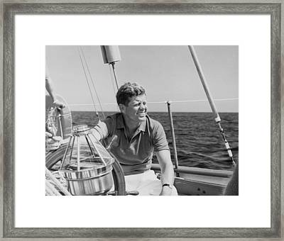 Jfk Sailing On Vacation Framed Print by War Is Hell Store