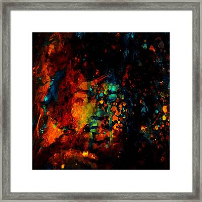 Jimi Hendrix Colorful World Framed Print by Brian Reaves
