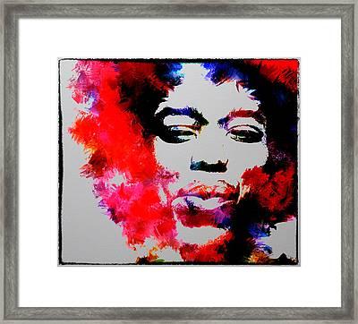 Jimi Hendrix Fire Framed Print by Brian Reaves