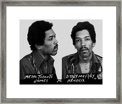 Jimi Hendrix Mug Shot Horizontal Framed Print by Tony Rubino