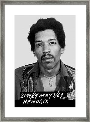 Jimi Hendrix Mug Shot Vertical Framed Print by Tony Rubino