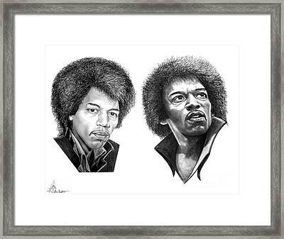 Jimi Hendrix Framed Print by Murphy Elliott