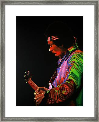 Jimi Hendrix Painting 4 Framed Print by Paul Meijering