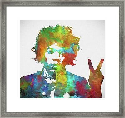 Jimi Hendrix Peace Framed Print by Dan Sproul
