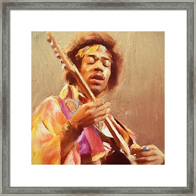 Jimi Jamming Framed Print by Dan Sproul