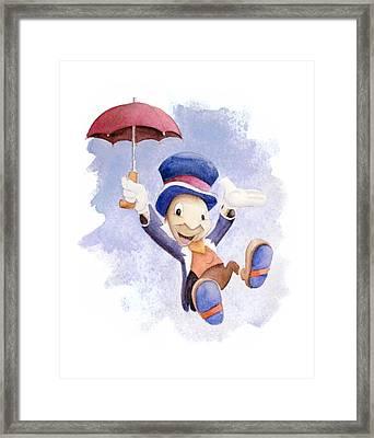 Jiminy Cricket With Umbrella Framed Print by Andrew Fling