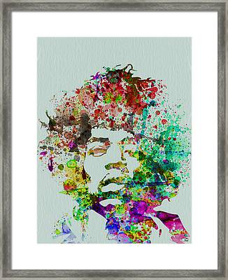 Jimmy Hendrix Watercolor Framed Print by Naxart Studio