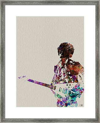 Jimmy Hendrix With Guitar Framed Print by Naxart Studio