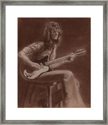 Jimmy Page Framed Print by Kathleen Kelly Thompson