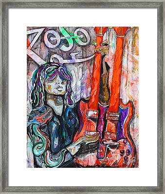 Jimmy Page - Original Art - Gibson Eds-1275 Double Neck, Zoso,  Framed Print by Paco Rocha