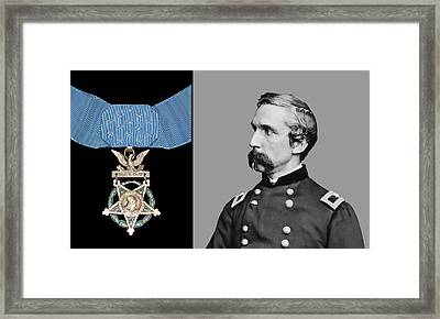 J.l. Chamberlain And The Medal Of Honor Framed Print by War Is Hell Store