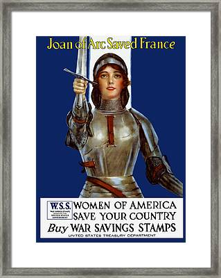 Joan Of Arc Saved France - Save Your Country Framed Print by War Is Hell Store