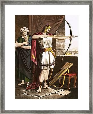 Joash Shooting Arrows At The Command Of Elisha Framed Print by English School