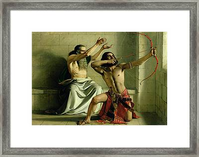 Joash Shooting The Arrow Of Deliverance Framed Print by William Dyce