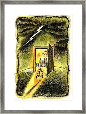 Job Security Framed Print by Leon Zernitsky