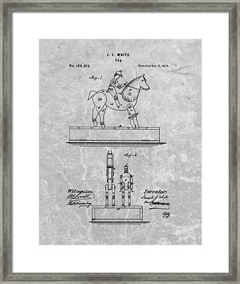 Jockey Toy Patent Charcoal Framed Print by Dan Sproul