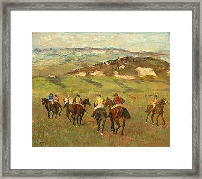 Jockeys On Horseback Before Distant Hills Framed Print by Edgar Degas