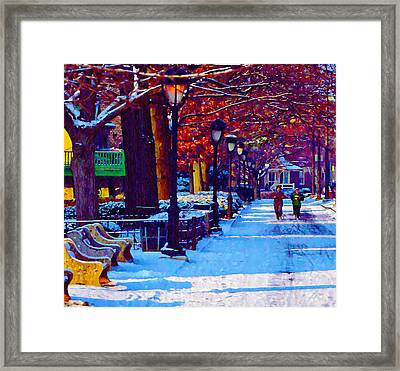 Jogging In The Snow Along Boathouse Row Framed Print by Bill Cannon