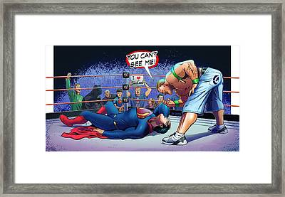 John Cena Vs Superman Framed Print by Khaled Alsabouni