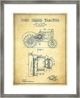 John Deere Tractor Patent Drawing From 1934 - Vintage Framed Print by Aged Pixel