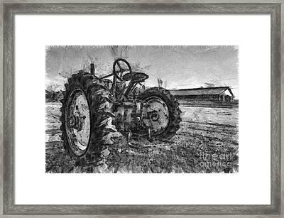 John Deere Pencil Drawing Framed Print by Edward Fielding
