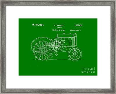 John Deere Tractor Patent Tee Framed Print by Edward Fielding