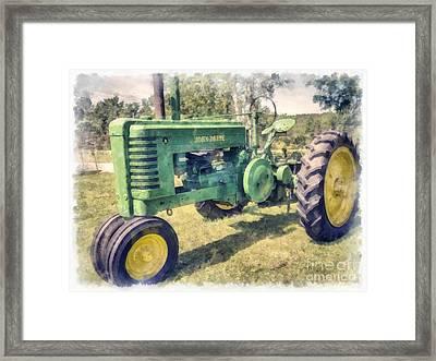 John Deere Vintage Tractor Watercolor Framed Print by Edward Fielding