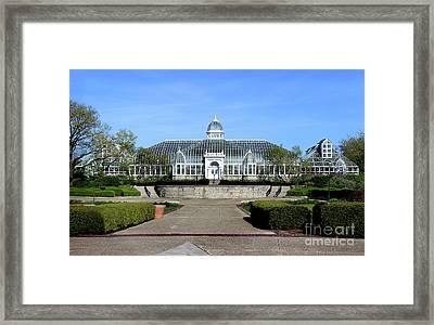 John F Wolfe Palm House At Franklin Park Framed Print by Karen Adams