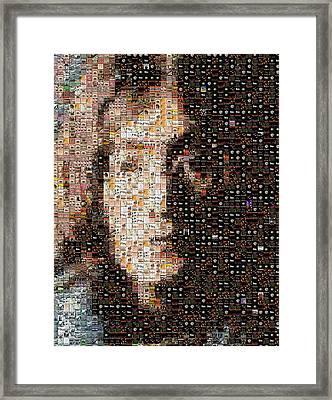 John Lennon Beatles Albums Mosaic Framed Print by Paul Van Scott