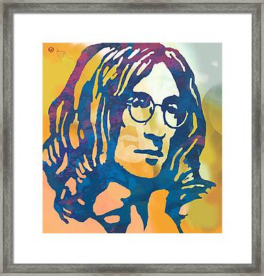 John Lennon Pop Art Poster Framed Print by Kim Wang