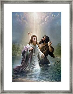 John The Baptist Baptizes Jesus Christ Framed Print by War Is Hell Store