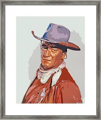 John Wayne - The Duke Framed Print by David Lloyd Glover