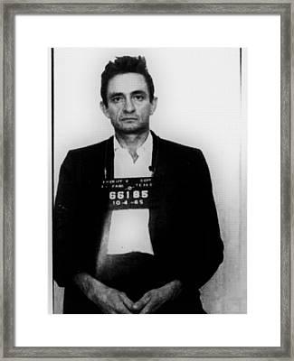 Johnny Cash Mug Shot Vertical Framed Print by Tony Rubino